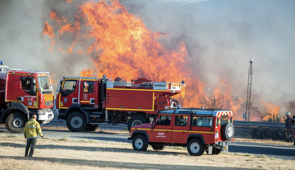 image de l'incendie et des pompiers