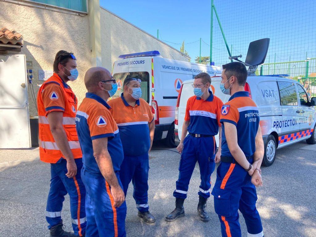 équipes de la protection civile lors des renforts incendie